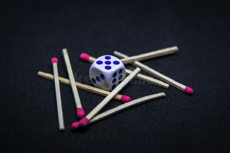 Cube and Matches stock photography