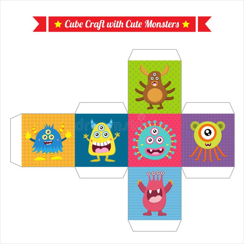 Cube mignon en jeu de monstre illustration stock