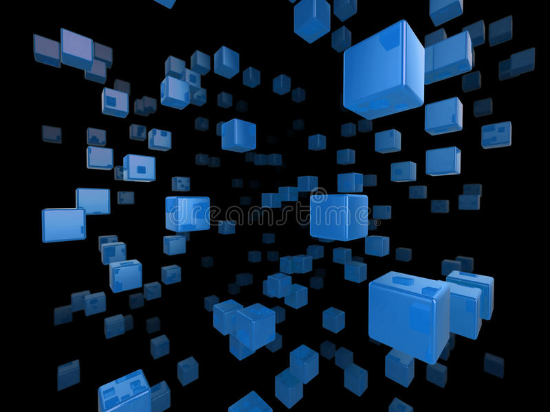Cube network. High quality illustration of a network of glossy blue cubes reaching far into the distance vector illustration