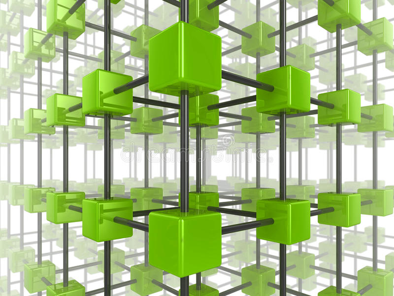 Cube network. High quality illustration of a network of glossy green cubes, connected by a wire frame royalty free illustration