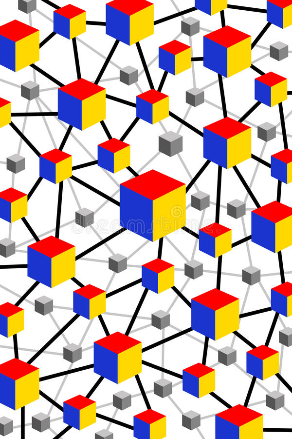 Cube network. Extensive network of colorful cubes vector illustration