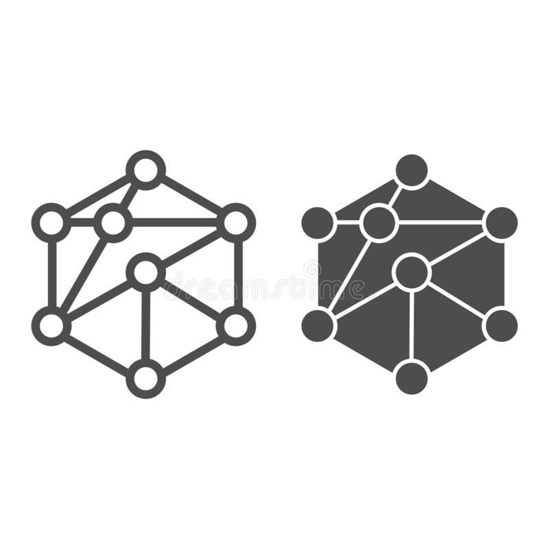 Cube network line and glyph icon. Blockchain vector illustration isolated on white. Cube structure outline style design. Designed for web and app. Eps 10 stock illustration