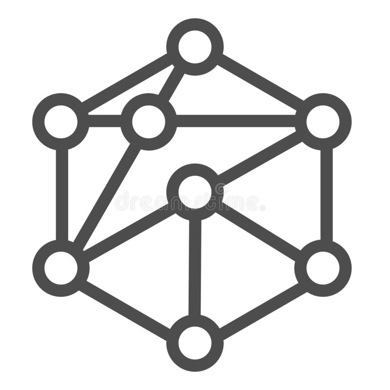 Cube network line icon. Blockchain vector illustration isolated on white. Cube structure outline style design, designed. For web and app. Eps 10 stock illustration