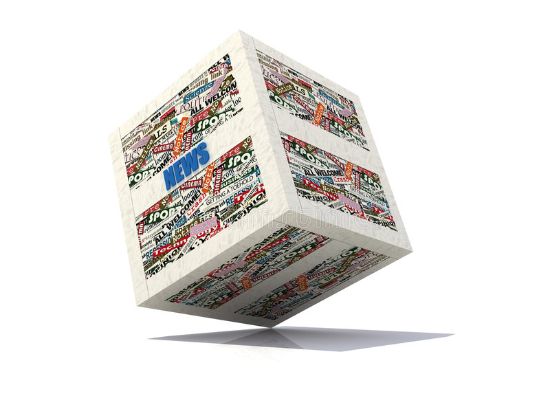 Cube news colored version. Cube news realized with clippings of newspaper -rendering royalty free illustration