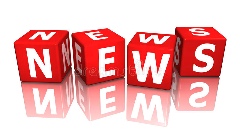 Cube news red 3D royalty free illustration