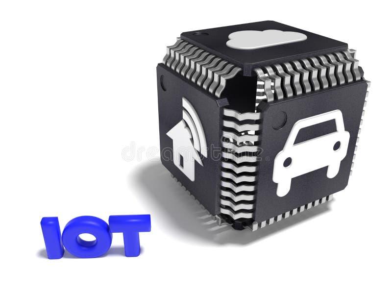 Cube noir fait à partir des unités centrales de traitement avec les icônes blanches d'IOT sur chaque inte latéral illustration de vecteur