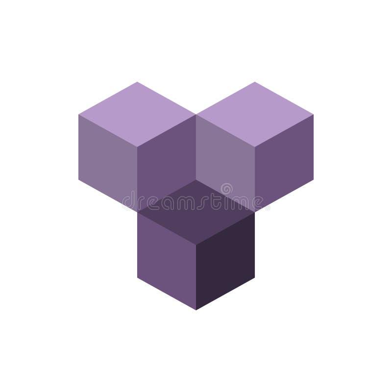 Cube o conceito isométrico do logotipo, ilustração do vetor 3d Estilo liso do projeto ilustração stock