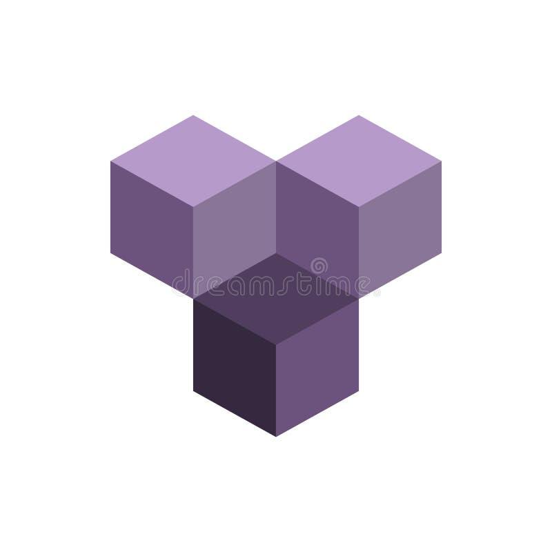 Cube o conceito isométrico do logotipo, ilustração do vetor 3d Estilo liso do projeto Construção do cubo Teste padrão do sinal Pr ilustração stock