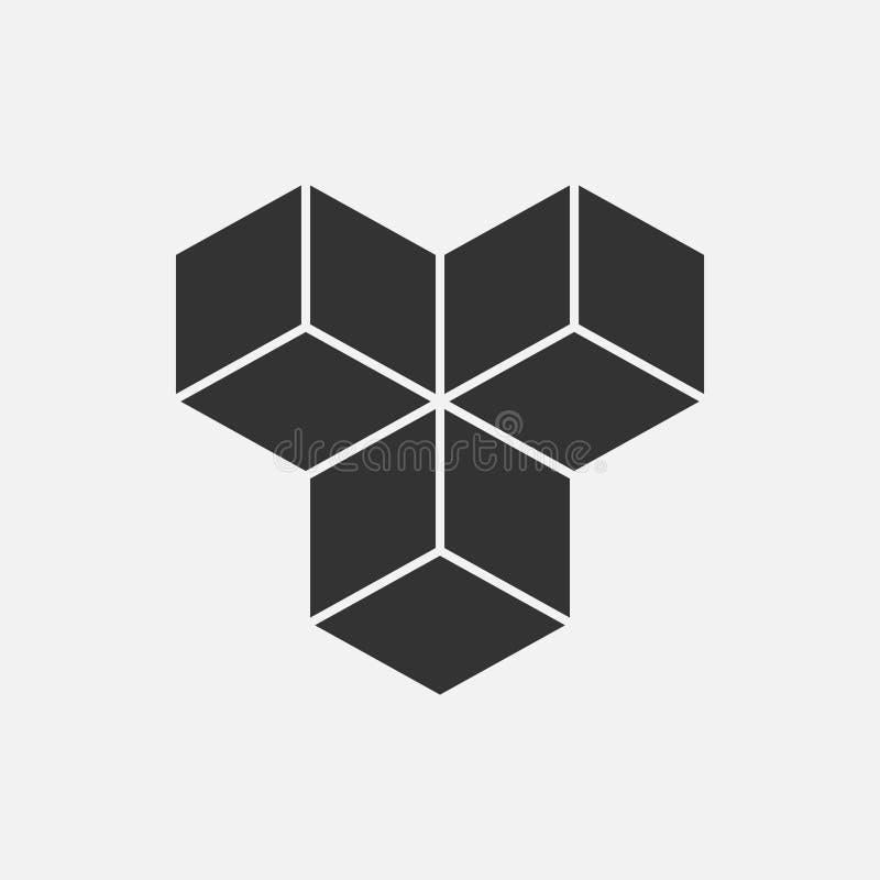 Cube o conceito isométrico do logotipo, ilustração do vetor 3d Estilo liso do projeto Construção do cubo Teste padrão do sinal Pr ilustração royalty free