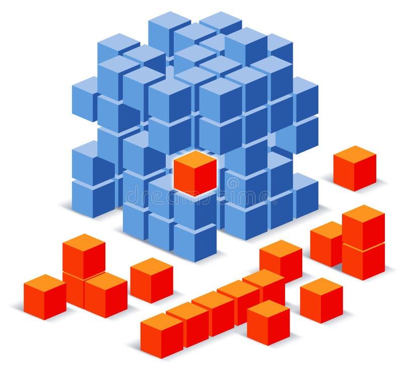 Cube o enigma ilustração stock