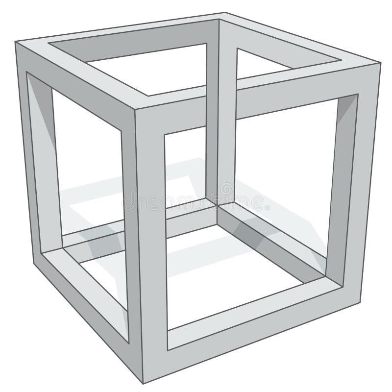 Cube optical illusion royalty free illustration