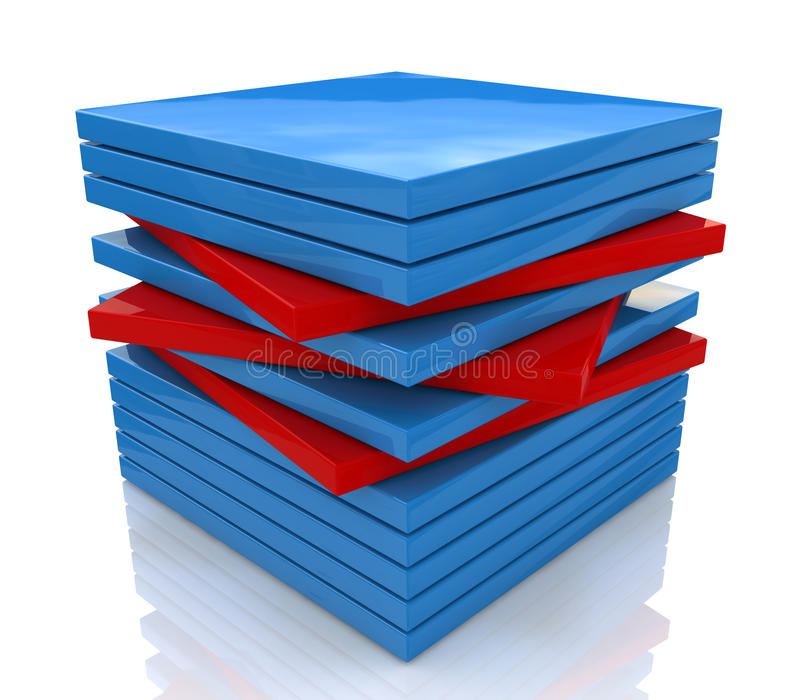 Cube of the plates stock images