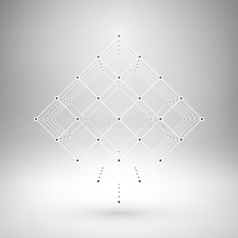 Cube polygonal en maille de Wireframe illustration libre de droits