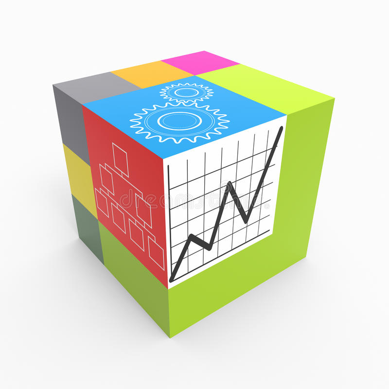 Cube process. Cube with drawn graphs as concept stock illustration