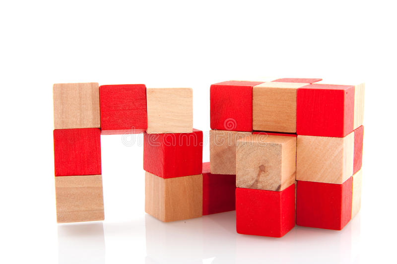 Download Cube puzzle stock photo. Image of quotient, wooden, making - 10219746