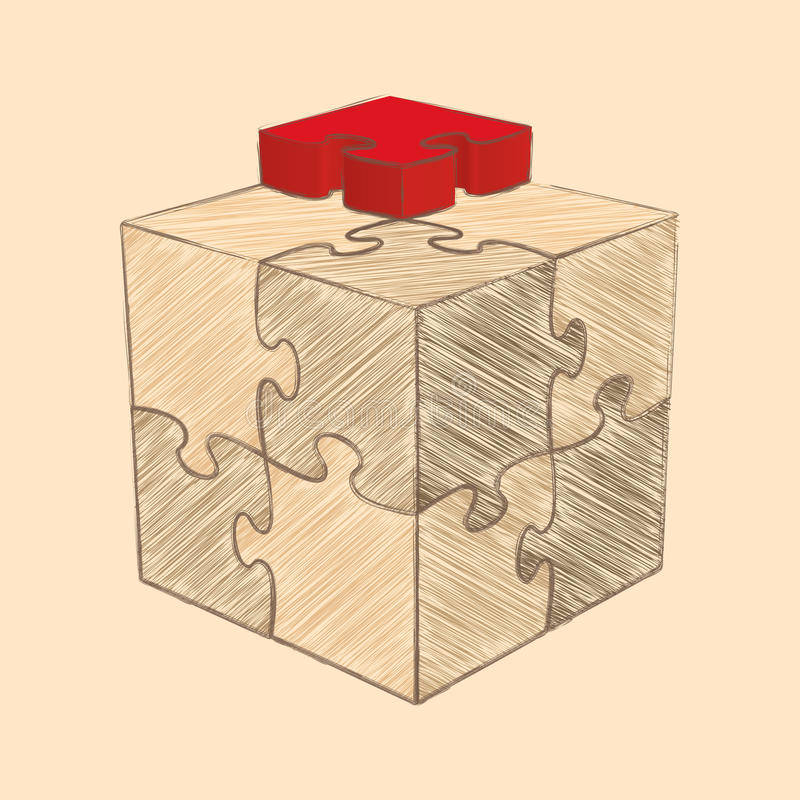Cube Puzzle. Retro Style. Sketch Stock Vector ...