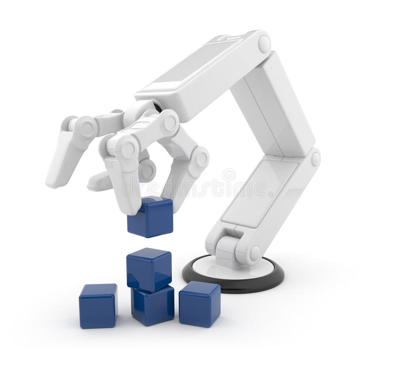 Cube robotique 3d en rassemblement de main. AI illustration de vecteur