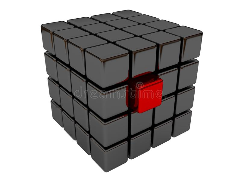 Cube rouge illustration de vecteur