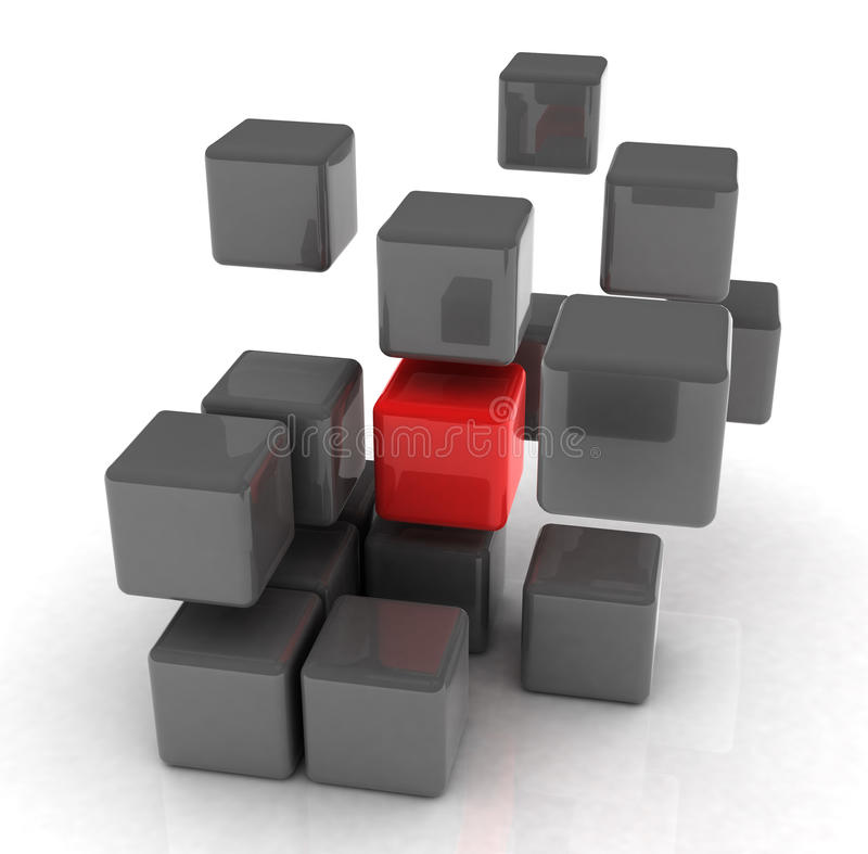 Cube rouge illustration stock