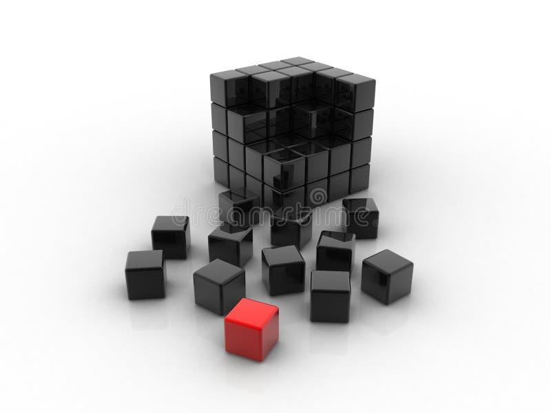 Cube rouge différent illustration stock