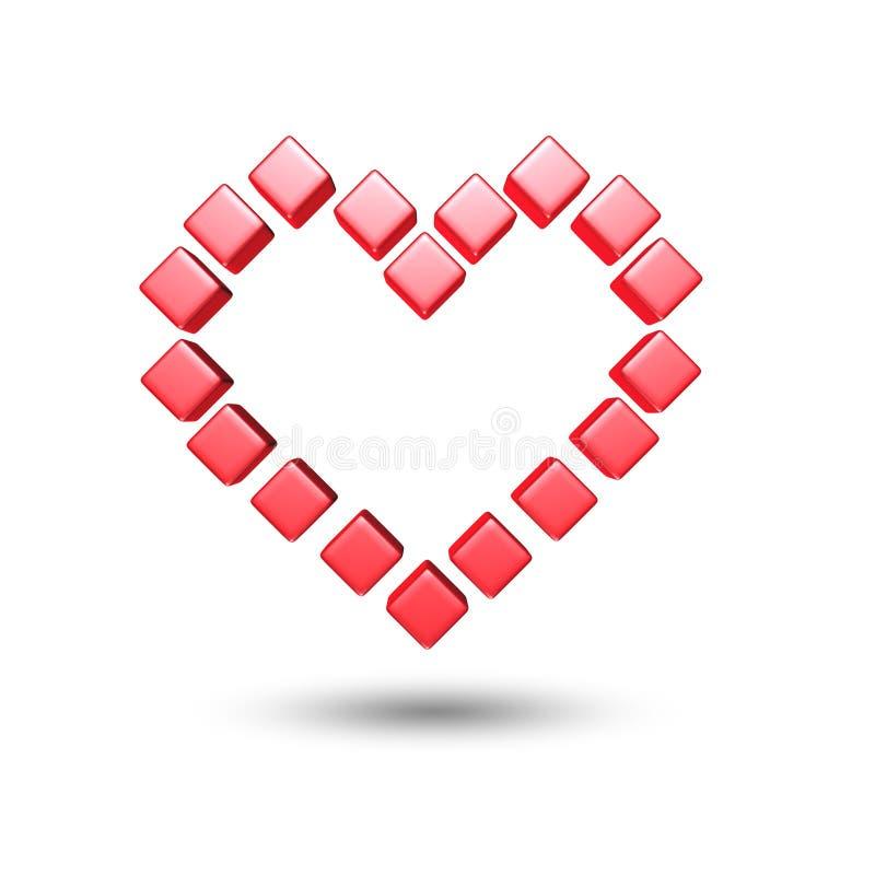 Cube rouge en coeurs d'amour illustration stock