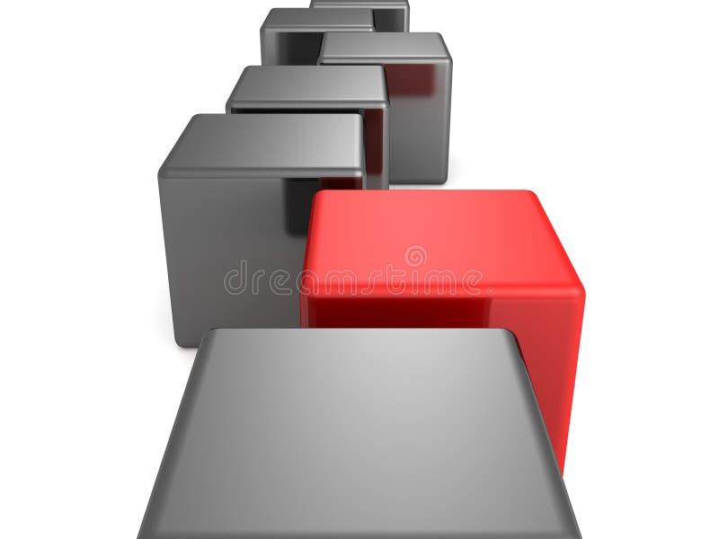 Cube rouge en concept d'individualité seul dans la ligne noire illustration stock