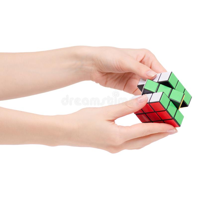 Cube Rubik in hand. On white background isolation royalty free stock photos
