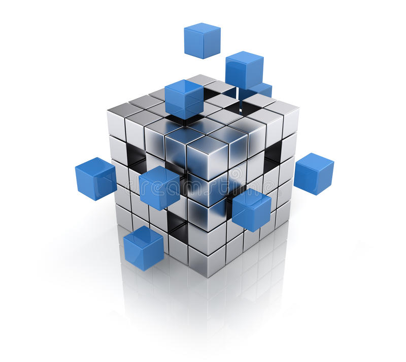Cube se réunissant à partir des blocs illustration libre de droits