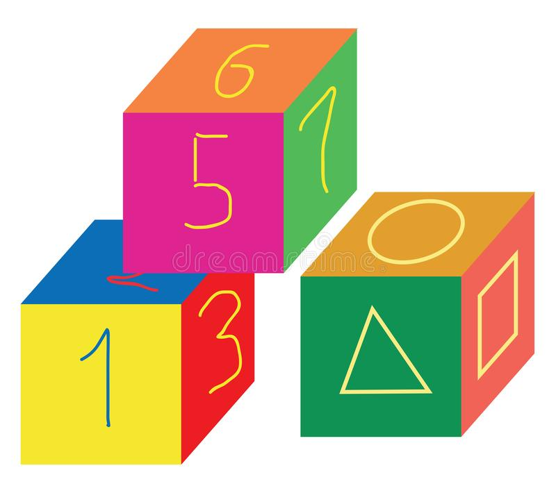 Cube-shaped multi-colored number toys/Cube-shaped multi-colored shapes toys vector or color illustration. Cube-shaped multi-colored number and shapes toys stock illustration