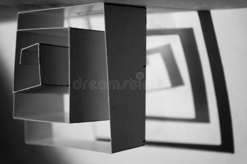 Cube - simple or complicated. Is it just a simple cube, or much more. A line can make a lot stock photo