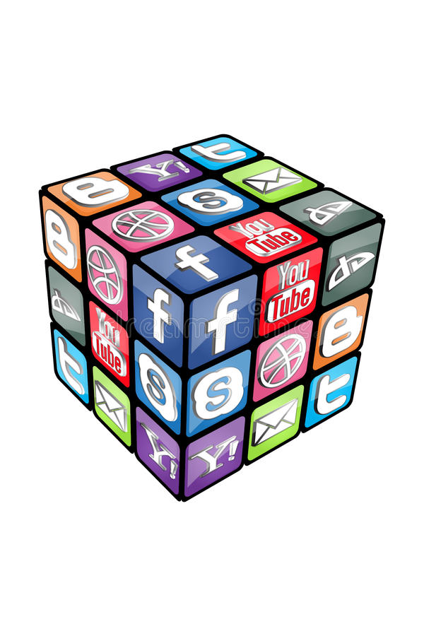 Cube social v2.0 en Rubic illustration de vecteur