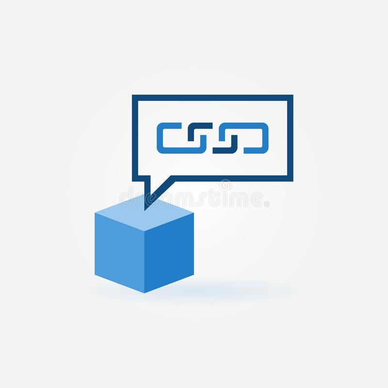 Cube with speech bubble icon - vector blockchain sign vector illustration