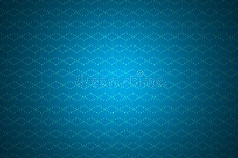 Cube square box or Honeycomb Grid tile with light sky blue background for use as technology background. stock illustration