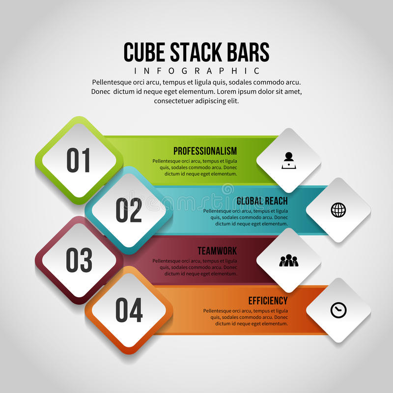 Cube Stack Bars Infographic. Vector illustration of cube stack bars infographic design element vector illustration