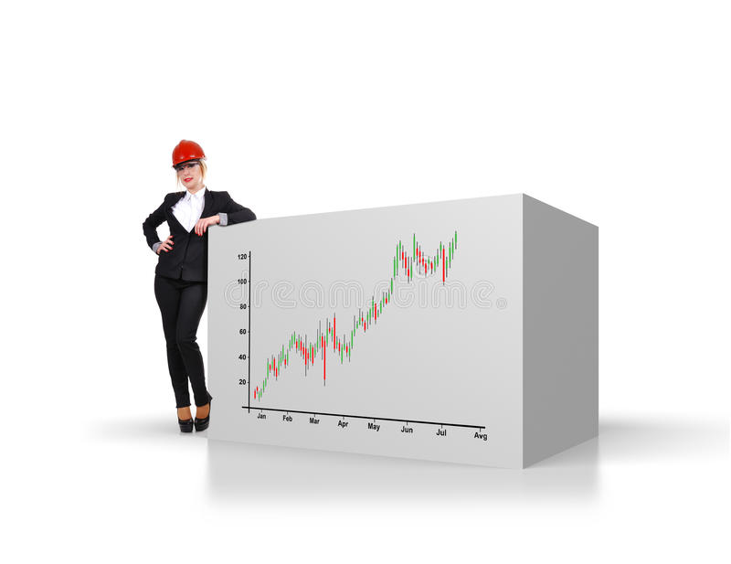 Cube with stock chart. Engineer businesswoman standing near big cube with stock chart royalty free stock image
