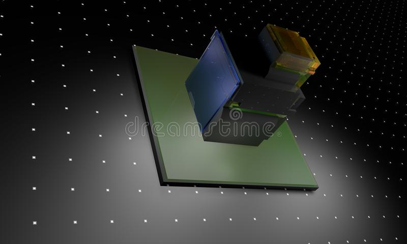 Cube tecnology glass background 3d render royalty free illustration
