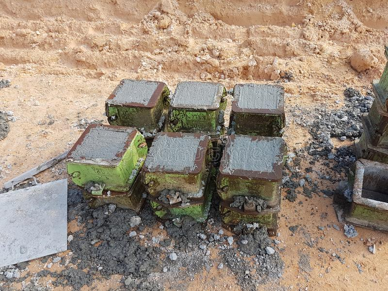 Cube test. Steel mould in square shape used to get standard square shape concrete block. stock photo