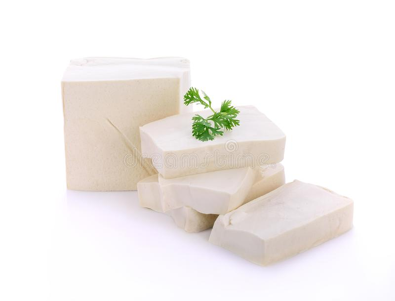 Cube tofu isolated on white royalty free stock images