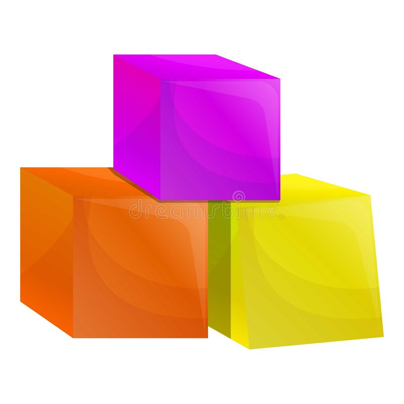 Cube toys icon, cartoon style. Cube toys icon. Cartoon of cube toys vector icon for web design isolated on white background vector illustration