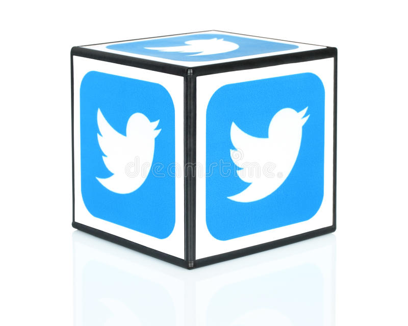 Cube with Twitter icons. Kiev, Ukraine - September 30, 2015: Cube with Twitter icons printed on paper. Twitter is a well-known social networking and news service stock image