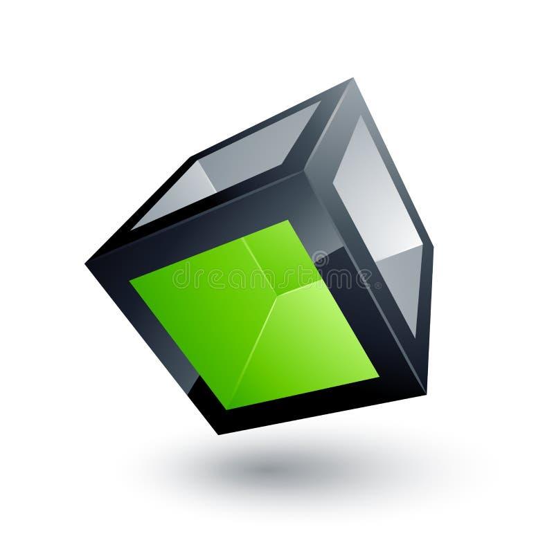 Cube vert illustration de vecteur