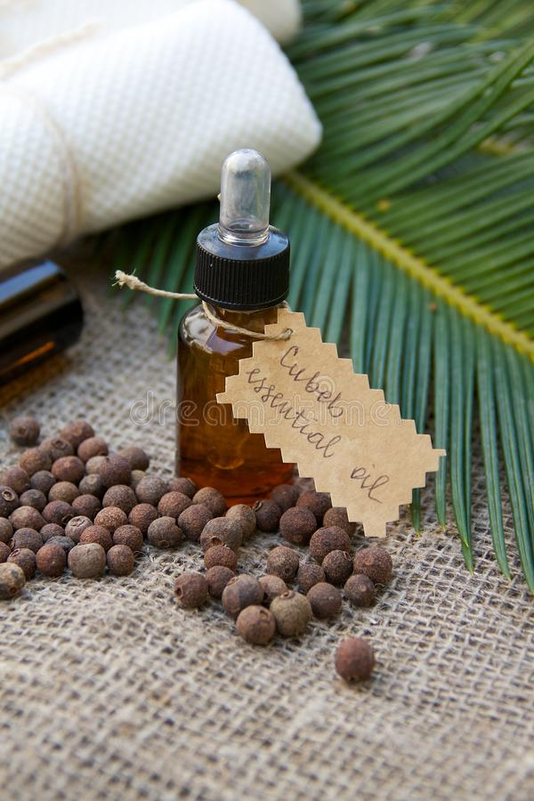 Cubeb essential oil. A bottle of cubeb essential oil on the sackcloth. Cubeb berries in the background stock photography