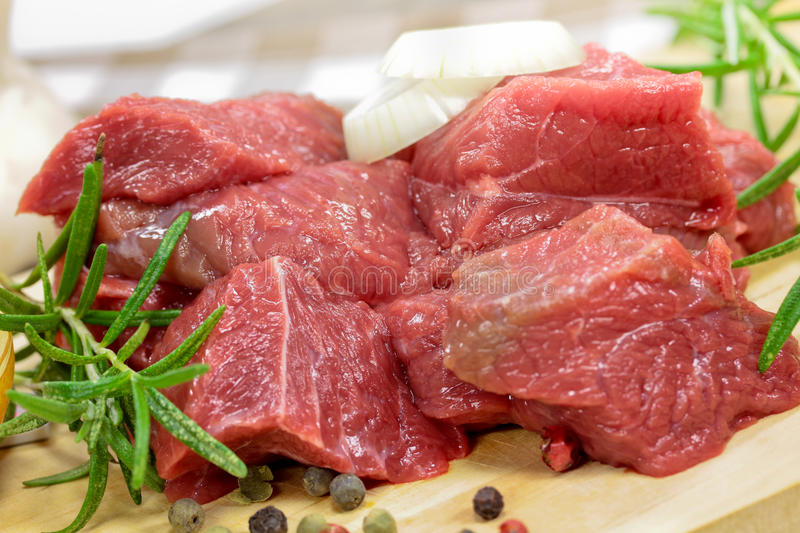 Cubed beef. Cubed goulash beef close up royalty free stock image