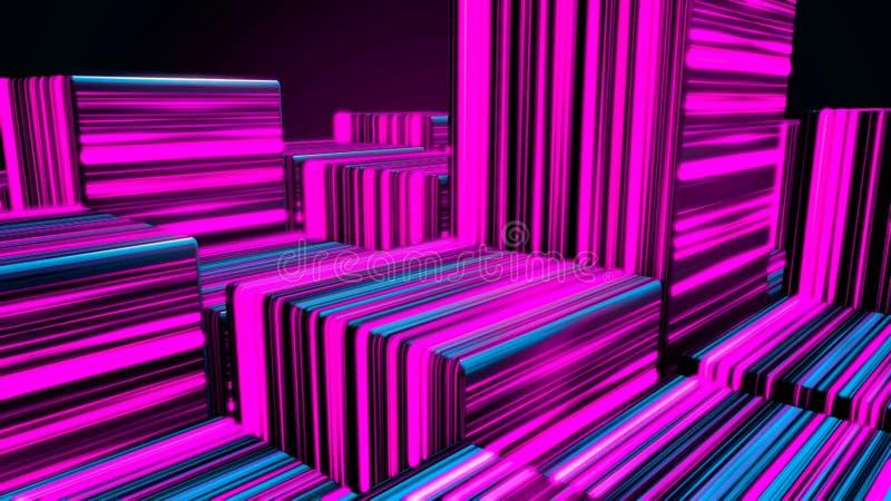 Cubes au n?on lumineux en r?sum? Fond de cubes en lampes au n?on Cubes color?s illustration de vecteur