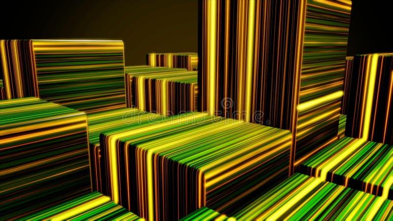 Cubes au n?on lumineux en r?sum? Fond de cubes en lampes au n?on Cubes color?s illustration stock