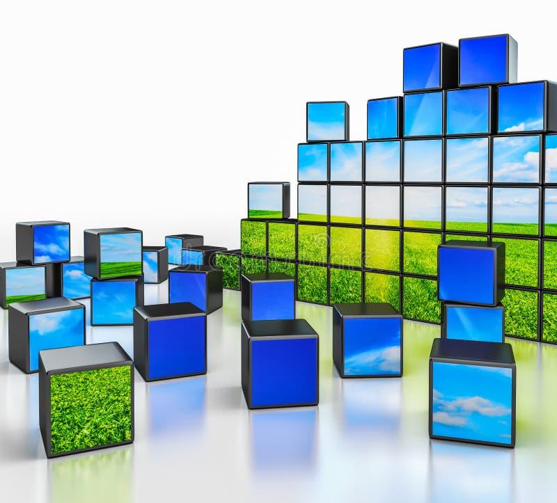 Cubes avec l'image de paysage sur le fond blanc illustration de vecteur