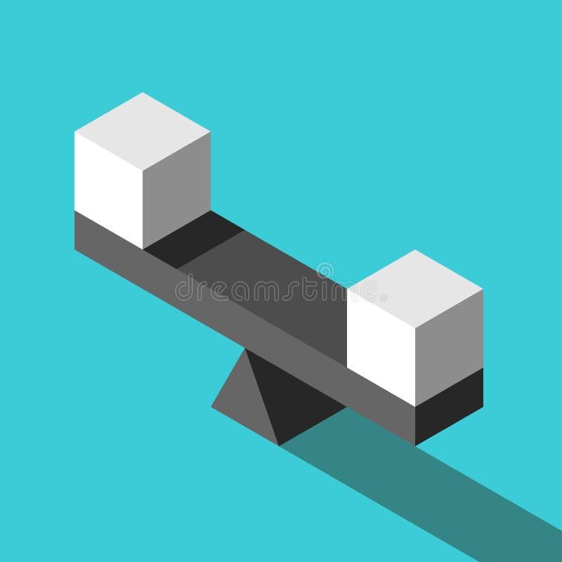 Cubes blancs isométriques, équilibre illustration de vecteur