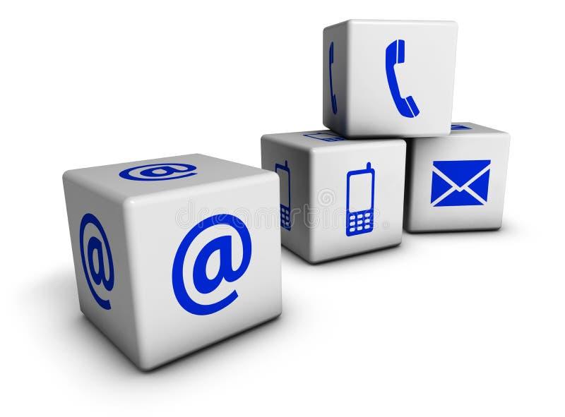 Cubes bleus en icônes de contactez-nous de Web illustration de vecteur