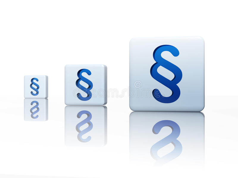 Cubes with blue paragraph signs royalty free illustration