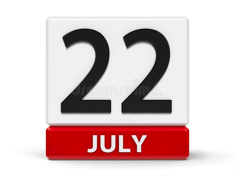 Cubes calendar 22nd July. Red and white calendar icon from cubes - The Twenty Second of July - on a white table - World Brain Day, three-dimensional rendering vector illustration